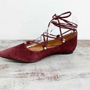 Halogen Red Suede leather flats 8.5 lace up